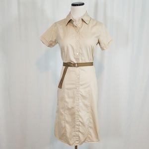 GAP Factory Kakhi Button Down Shirt Dress w Belt
